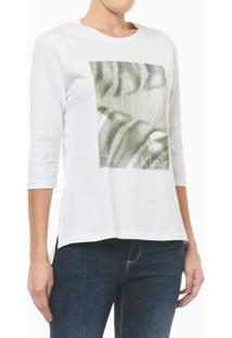Camiseta Com Estampa Localizada E Fenda - Branco - Gg