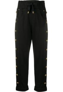 Balmain Embossed-Buttons Drawstring Trousers - Preto
