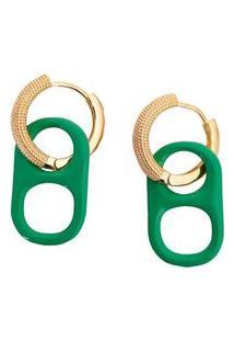 Brinco Infine Argola Dourada Pingente Lacre Esmaltado Verde