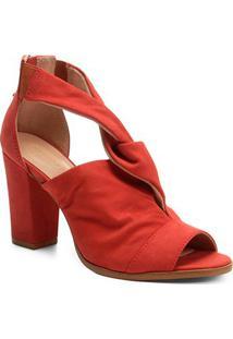 Sandália Couro Shoestock Salto Grosso Entrelace Feminina - Feminino