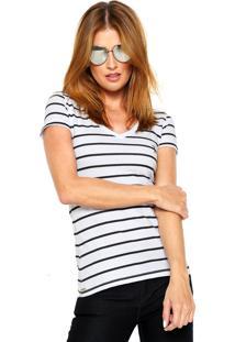 Camiseta Aleatory Listras Gola V Branca/Preto