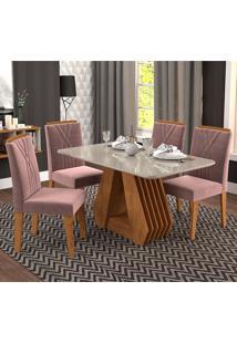Conjunto De 4 Cadeiras Para Sala De Jantar 130X80 Agata/Nicole-Cimol - Savana / Offwhite / Rose