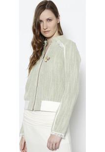 Jaqueta Tweed Com Franjas - Verde & Branco - Santísssantíssima