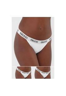 Kit 2Pçs Calcinha Colcci Underwear Fio Dental Lettering Branco