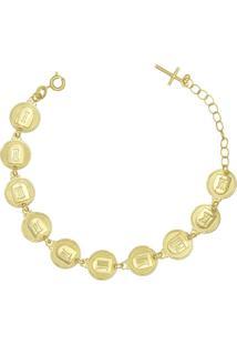Pulseira Prata Mil 10 Mandamentos Com Alongador E Cruz Dourado