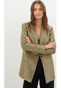Blazer Bobô New York Alfaiataria Dourado Feminino (Dourado Com Preto, M)