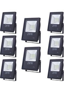 Refletor Led 20W Smd Holofote Bivolt Prova D'Agua Branco Frio Kit 8