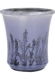 Vaso De Ceramica Com Flores Roxo Degrade Pq