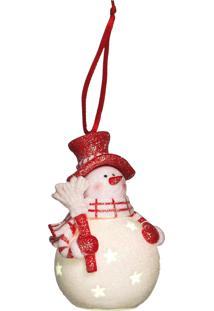 Enfeite Natal Decorativo Boneco De Neve Com Led 10Cm 1 Peça