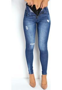 Calça Jeans Escura Super Lipo Cigarrete Sawary