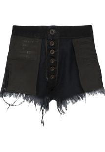 Unravel Project Short Jeans Com Detalhes Puídos - Preto