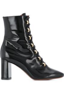 L'Autre Chose Ankle Boot Envernizada Com Cadarço - Preto