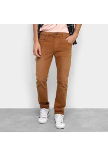 Calça Jeans Acostamento Básica Masculina - Masculino-Caramelo