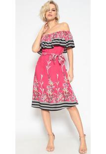 Vestido Ciganinha Com Recorte - Pink & Preto- Maclumaclu