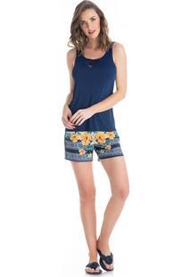 Pijama Luana Regata Curto Azul Marinho/P