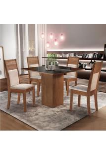 Sala De Jantar Completa Com Mesa E 4 Cadeiras Dakota Siena Móveis Chocolate/Suede Animale Cru