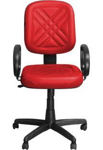 Cadeira Pethiflex Pd-01Gpbp Giratória Couro Vermelho