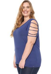 Blusa Cativa Plus Strappys Azul