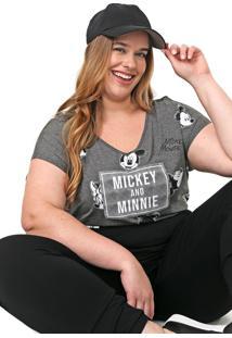 Blusa Cativa Disney Plus Mickey E Minnie Grafite