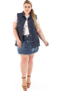 Colete Jeans Confidencial Oversized Plus Size Feminino - Feminino-Azul