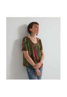 Blusa Estampada Com Detalhe Frontal | Marfinno | Verde | P