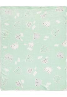 Cobertor Ursinho- Verde Claro & Branco- 85X110Cmpapi