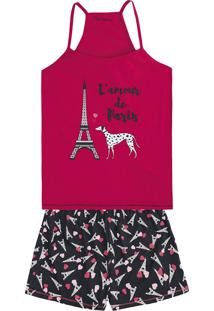 Pijama Feminino Em Malha De Algodão Com Alças Finas E Estampa