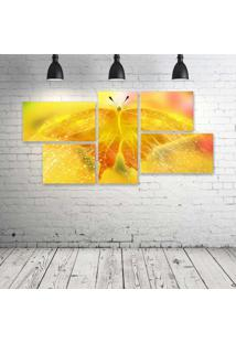 Quadro Decorativo - Butterfly-Neon-(3) - Composto De 5 Quadros