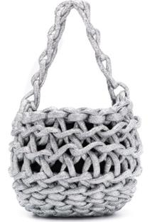 Alienina Tina Woven Mini Bag - Prateado