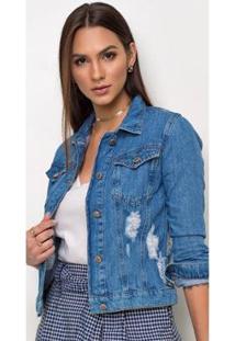 Jaqueta Jeans Express Melly Destroyed Feminina - Feminino