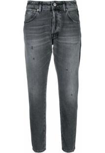Golden Goose Calça Jeans Cropped Com Listra Contrastante - Preto
