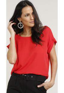 Blusa Feminina Ampla Manga Curta Decote Redondo Vermelha