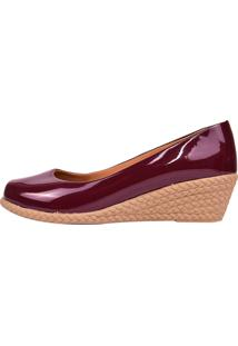 Sapato Chiquiteira Anabela Verniz Bordô Wln
