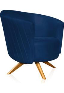 Poltrona Decorativa Angel Gomada Suede Azul Marinho Com Base Giratória Madeira - D'Rossi