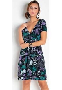 Vestido Floral Dark Com Decote Transpassado