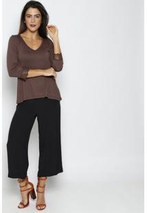 Blusa Lisa Com Tule Bordado- Marrom Escuro- Thiptonthipton