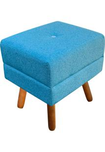 Puff Decorativo Bella Linho Azul Petróleo A58 Com Strass - D'Rossi