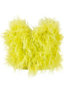 Attico Blusa Com Aplicação De Plumas - Amarelo