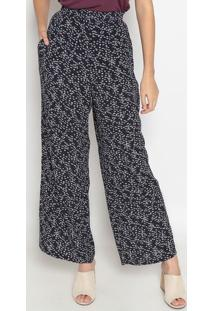 Calça Pantalona Geométrica- Azul Marinho & Lilás- Dzhering
