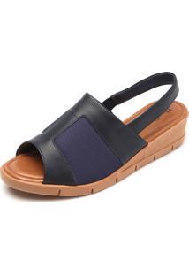 Sandália Couro Usaflex Soft Slim Azul-Marinho
