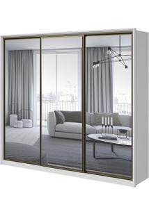 Guarda-Roupa Spazio Super Glass Com Espelho - 3 Portas - 100% Mdf - Branco
