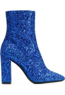 Saint Laurent Ankle Boot 'Loulou' De Couro Com Glitter - Azul