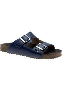 Sandália Doctor Shoes Birks 214 Anil Donna Comfort - Feminino-Azul Petróleo
