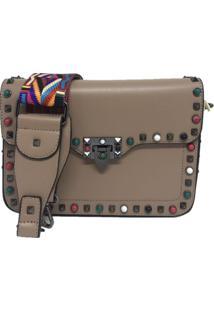 Bolsa Importada Transversal Alça Colorida Sys Fashion 8304 Caqui