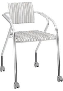 Cadeira Cromada Com Rodinhas Para Escritório 1713 Carraro