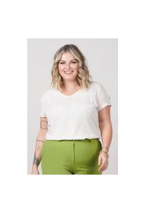 Blusa Ampla Almaria Plus Size New Umbi Detalhe Posterior Branco