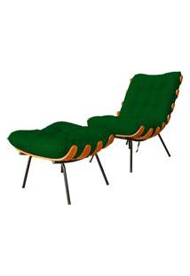 Combo Poltrona Decorativa Mais Puff Costela Suede Verde - Ds Estofados