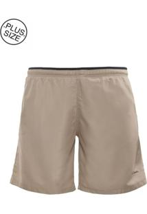 Shorts Plus Size Microfibra Caqui