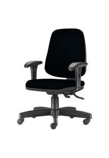 Cadeira Job Diretor Com Bracos Curvados Assento Crepe Base Rodizio Metalico Preto - 54637 Preto