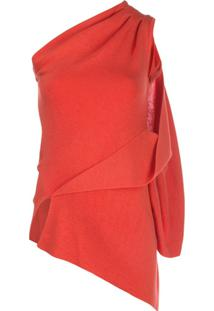 Monse Blusa Drapeada Assimétrica - Vermelho